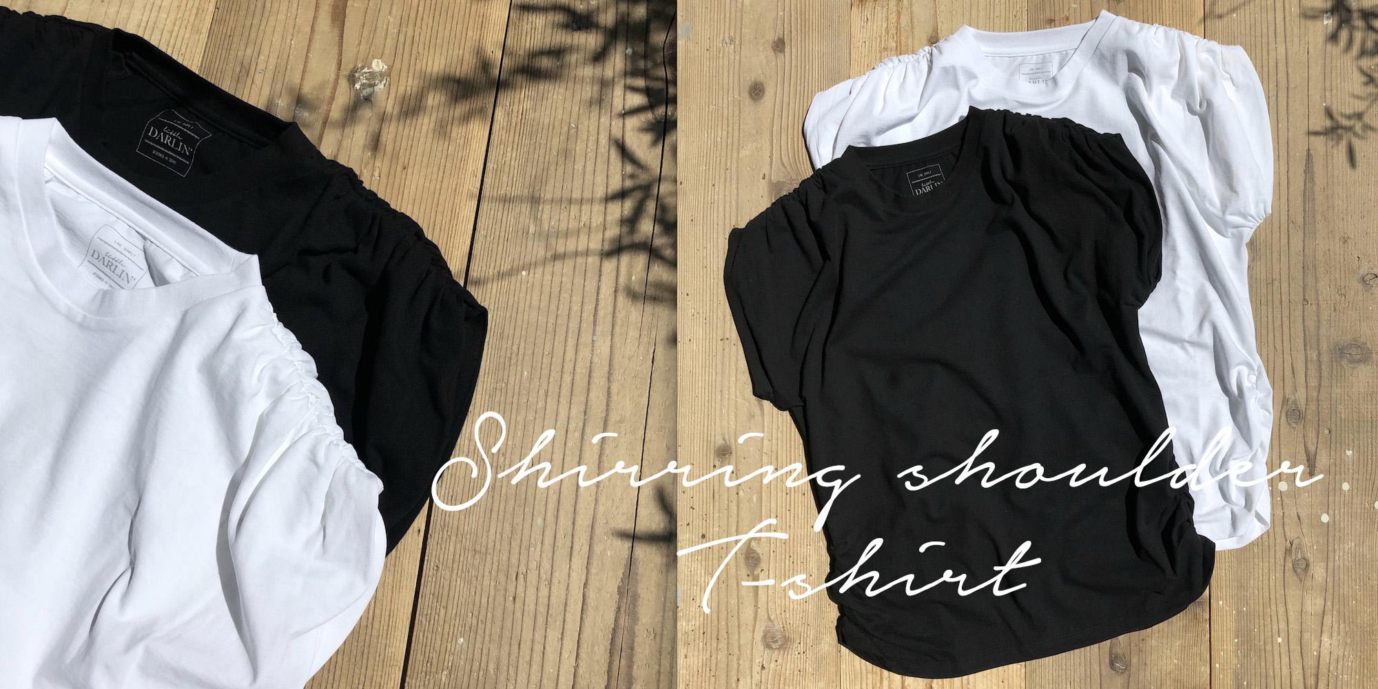 シャーリングショルダーTシャツTOPのコピー